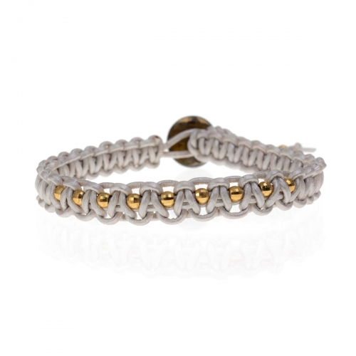 Be Christensen Audrey 11 Silver Leather & 18k Gold Bracelet