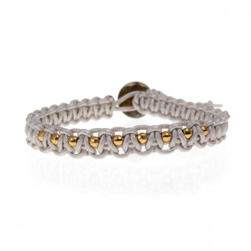 Be Christensen Audrey 11 Silver Leather & 18k Gold Bracelet