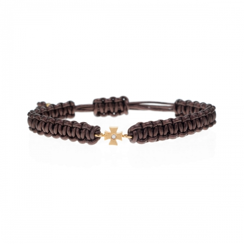 Be Christensen Camille Brown Leather, 18k Gold & Diamond Bracelet