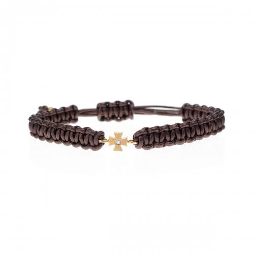 Be Christensen Camille Brown Leather, 18k Gold & Diamond Bracelet
