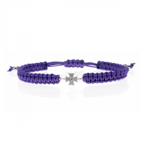 Be Christensen Camille Purple Leather, 18k White Gold & Diamond Bracelet