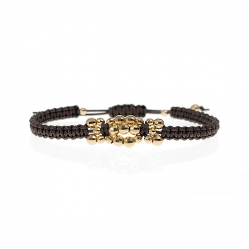 Be Christensen Jasmine Brown Braided Cord & 18k Gold Bracelet