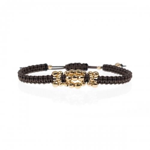 Be Christensen Jasmine Brown Braided Cord & 18k Gold Bracelet