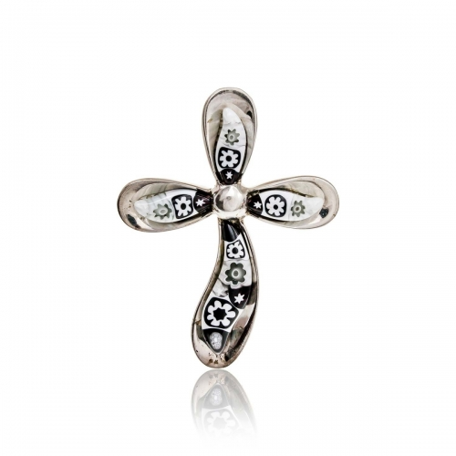 Millefiori Black & White Petal Cross Pendant 2MC49-C6
