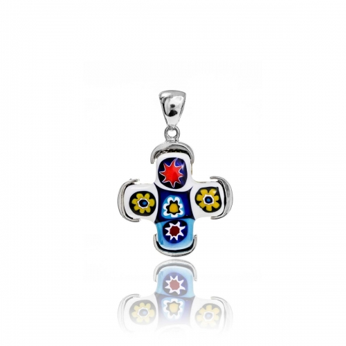 Millefiori Multi Coloured Small cross Pendant 3MC46