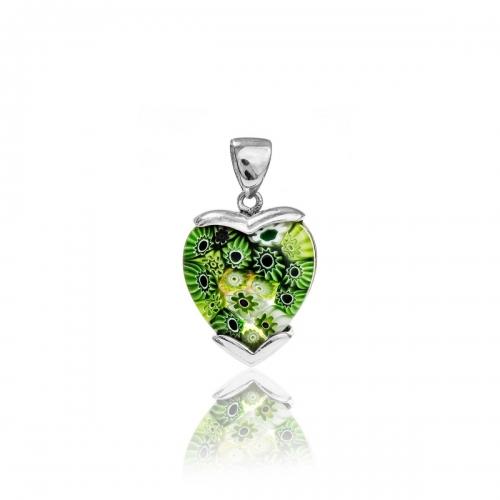 Millefiori Green Small Heart Pendant 5MH81