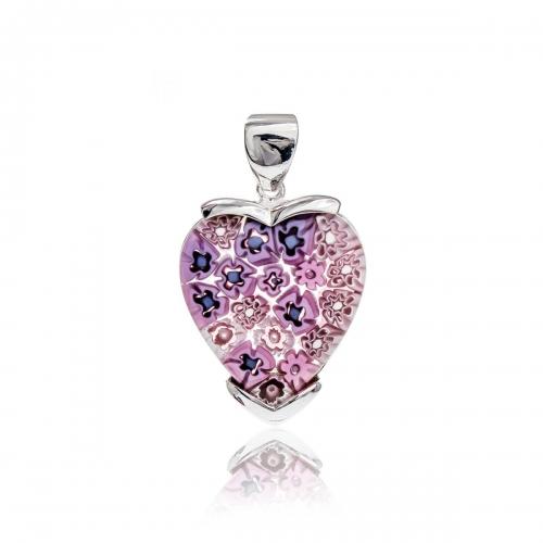 Millefiori Pink Large Heart Pendant 3MH38