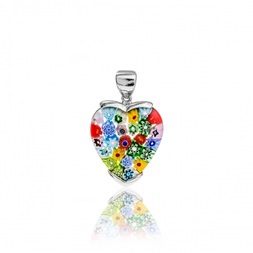 Millefiori Multi Coloured Large Heart Pendant 3MH33