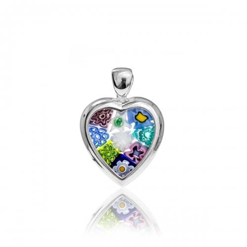 Millefiori Multi Coloured Silver Heart Pendant 4MH64