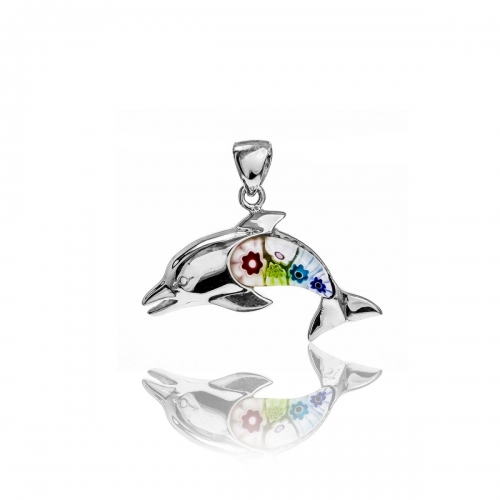 Millefiori Multi Coloured Dolphin Pendant 8MP206-C4