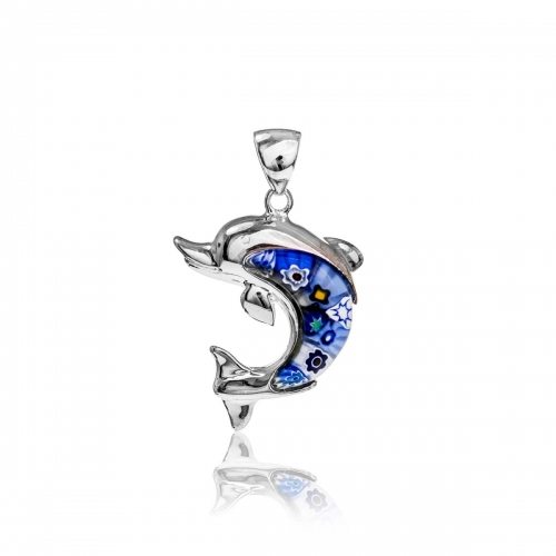 Millefiori Blue Dolphin Pendant 8MP301-C3