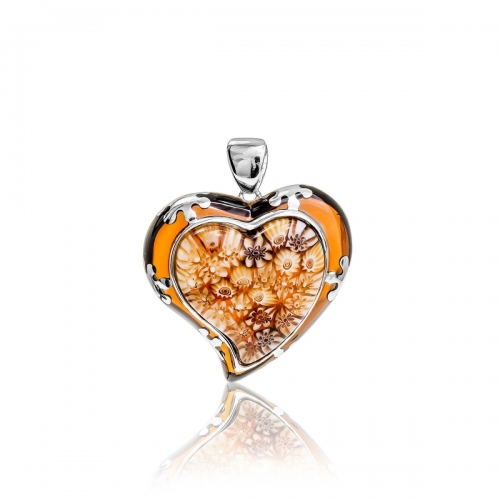 Millefiori Amber Tear Heart Pendant 8MP363-BRN