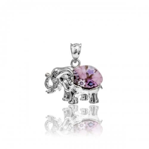 Millefiori Pink Elephant Pendant 8MP222-C4