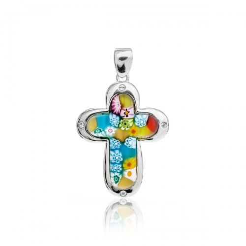 Millefiori Multi Coloured Small Rounded Cross Pendant 8MP372-C4