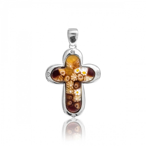 Millefiori Amber Small Rounded Cross Pendant 8MP372-C10