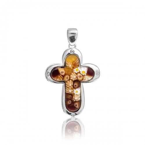 Millefiori Amber Small Rounded Cross Pendant 8MP372-C10