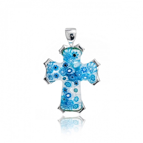 Millefiori Blue Small Bold Cross Pendant 8MP393