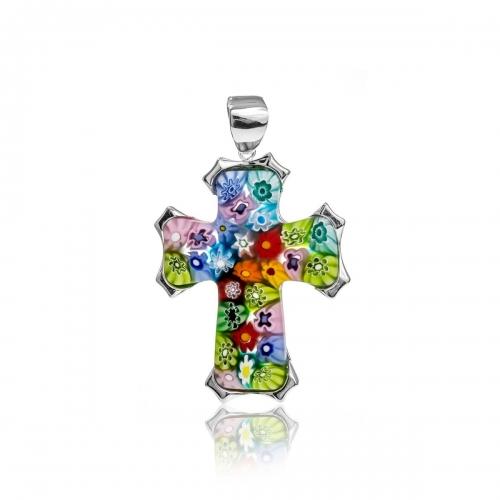 Millefiori Multi Coloured Small Bold Cross Pendant 8MP394
