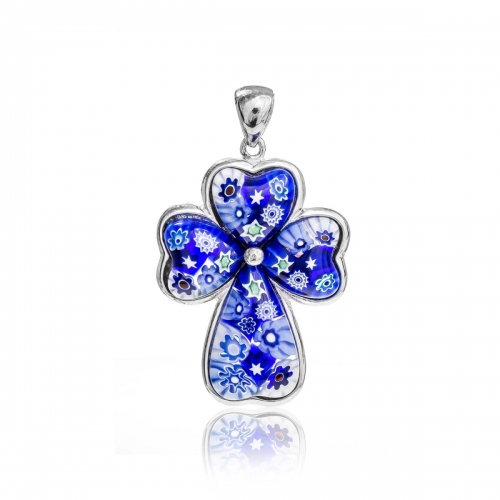 Millefiori Blue Small Heart Cross Pendant 9MC305