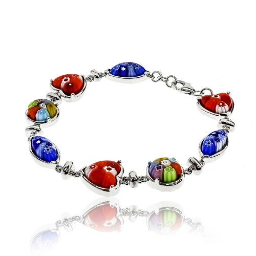 Millefiori Red Hearts, Oval & Circle Bracelet 10MB62
