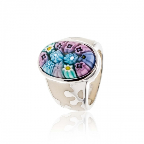 Millefiori Blue Oval Ring 2MR90