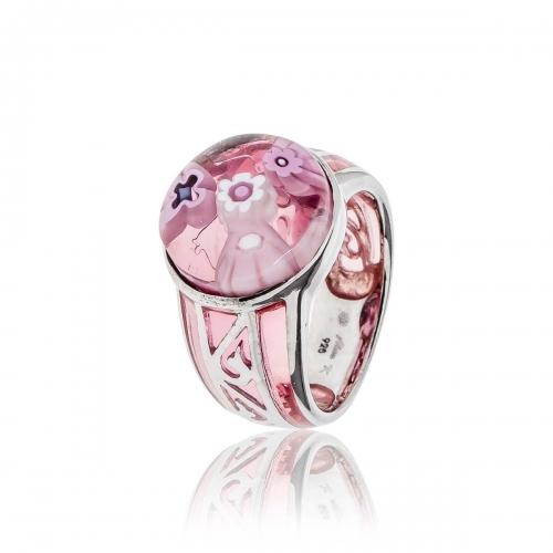 Millefiori Pink Round Ring 2MR96