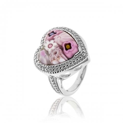 Millefiori Pink Heart Ring 2MR139