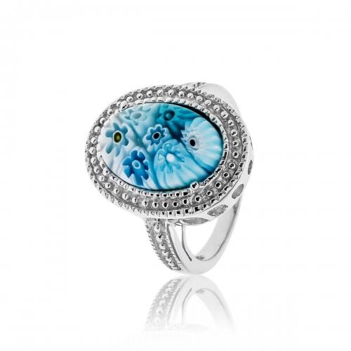 Millefiori Blue Oval Ring 2MR150