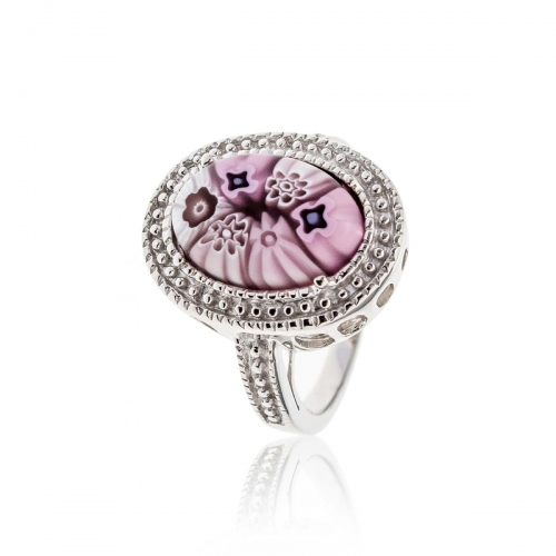 Millefiori Pink Oval Ring 2MR153
