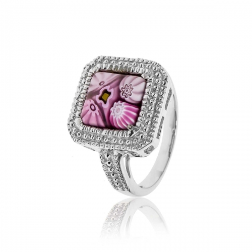 Millefiori Pink Square Ring 2MR156