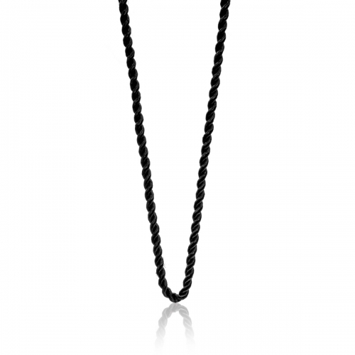 Millefiori Black Twisted Cord Necklace 7NW044-BLK