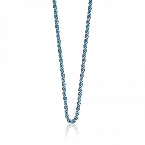 Millefiori Blue Twisted Cord Necklace 7NW044-BLU