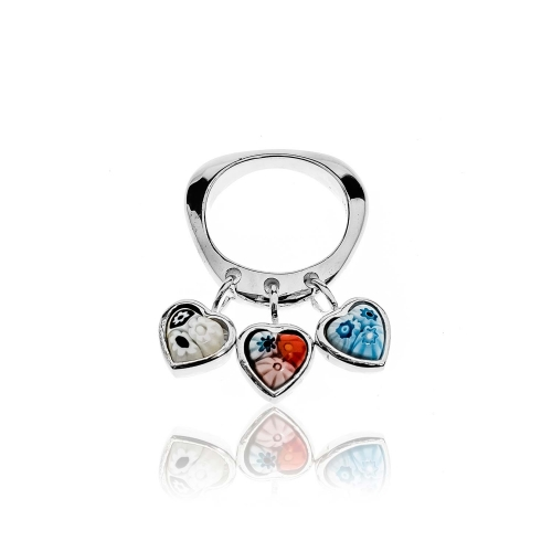 Millefiori Multi Coloured 3 Hearts Ring 3HEARTS