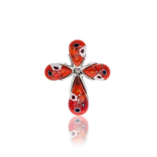 Millefiori Red Tear Drop Pendant 2MC51-RED