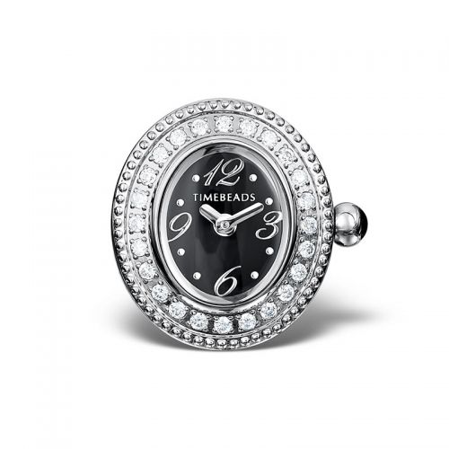 Sample: Timebeads Black & CZ Oval Watch Charm with Clip Fastening TB2001CZBK