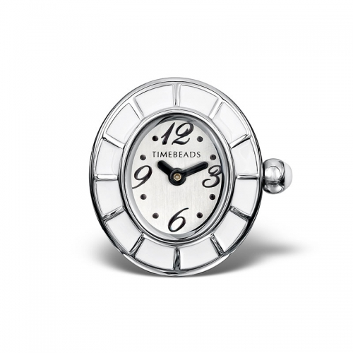 Sample: Timebeads White Oval Watch Charm with Clip Fastening TB2008WH