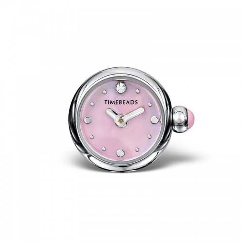 Sample: Timebeads Pink Round Watch Charm with Clip Fastening TB2015PK