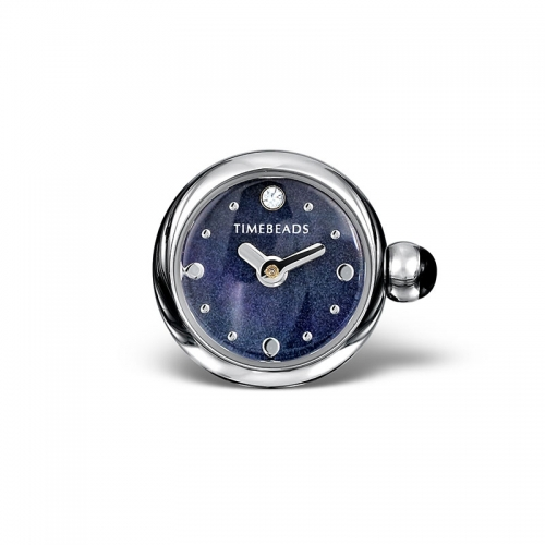 Sample: Timebeads Dark Blue Round Watch Charm with Clip Fastening TB2013BK