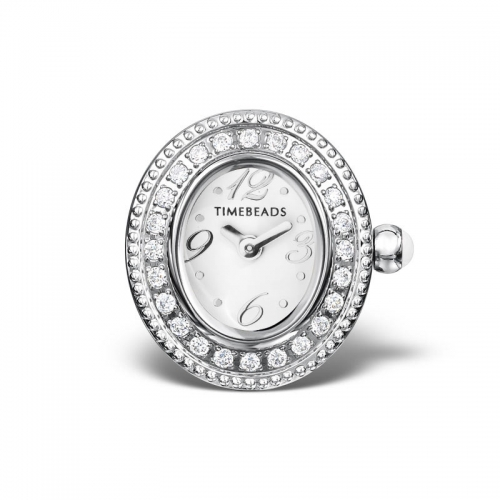 Sample: Timebeads White & CZ Oval Watch Charm With Clip Fastening TB2002CZWH