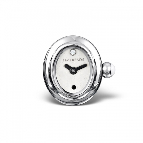 Sample: Timebeads White Oval Watch Charm with Clip Fastening TB2011WH