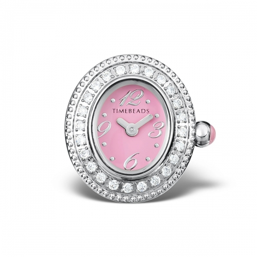 Sample: Timebeads Pink & CZ Oval Watch Charm with Clip Fastening TB2003CZPK