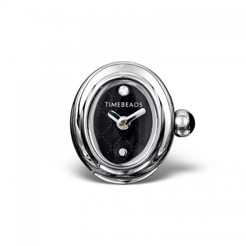 Sample: Timebeads Black Oval Watch Charm with Clip Fastening TB2010BK