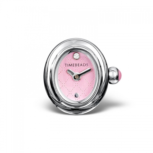 Sample: Timebeads Pink Oval Watch Charm with Clip Fastening TB2012PK