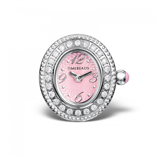 Sample: Timebeads Pink & CZ Oval Watch Charm with Clip Fastening TB2006CZPK