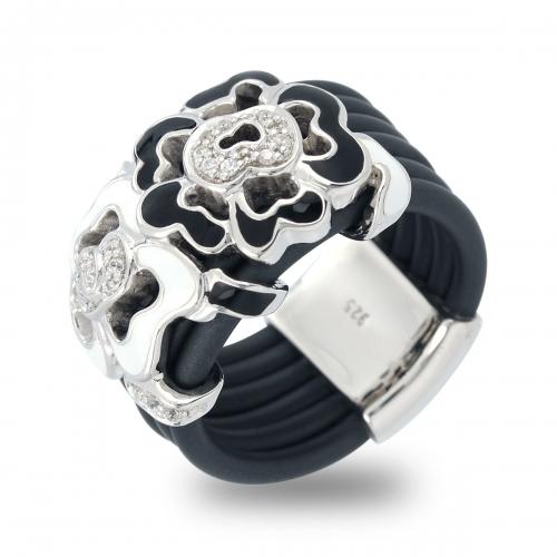 Belle Etoile Black Fiori Ring