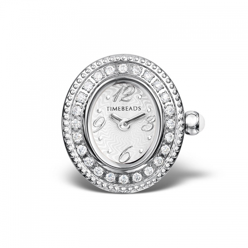 Sample: Timebeads White & CZ Oval Watch Charm with Clip Fastening TB2005CZWH