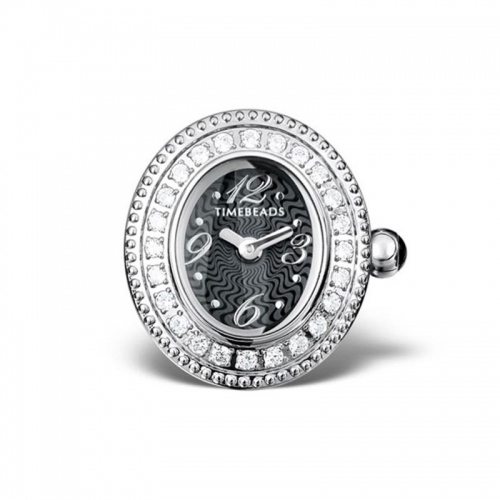 Sample: Timebeads Black & CZ Oval Watch Charm With Clip Fastening TB2004CZBK