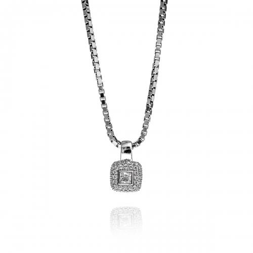 Zinzi Sterling Silver CZ Square Pendant Necklace Set