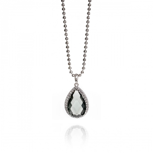 Zinzi Sterling Silver Dark Grey Tear Drop Pendant Necklace Set