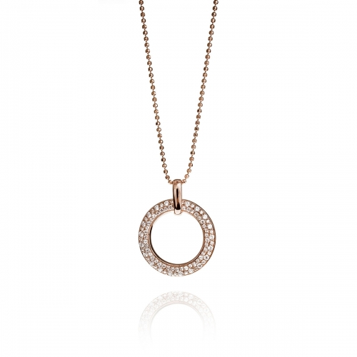 Zinzi Rose Gold CZ Circle Necklace Set